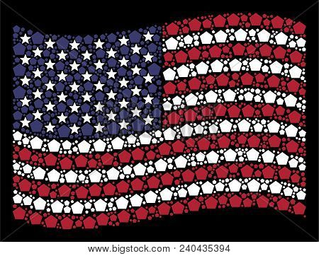 Filled Pentagon Pictograms Are Organized Into Waving Usa Flag Stylization On A Dark Background. Vect