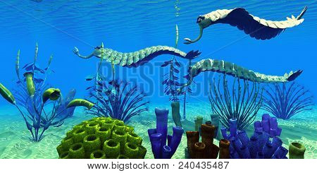 Opabinia In Cambrian Seas 3d Illustration - Three Opabinia Regalis Animals Hunt For Prey On A Reef O