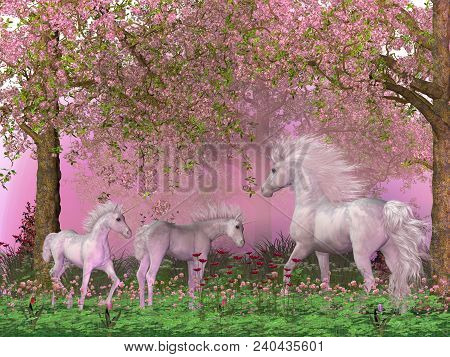 Spring Unicorns 3d Illustration - A Mother White Unicorn Frolics With Her Two Foals Under Spring Che