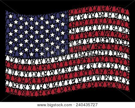 Fir-tree Icons Are Grouped Into Waving United States Flag Abstraction On A Dark Background. Vector C