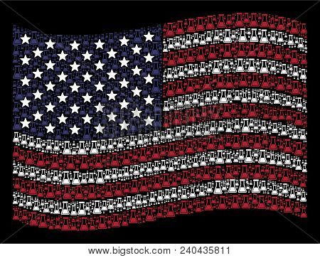 Flask Pictograms Are Combined Into Waving United States Flag Stylization On A Dark Background. Vecto