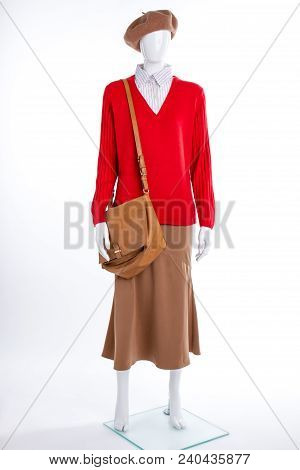 Brown Beret, Bag And Skirt On Mannequin. Female Sweater, Skirt And Handbag. Ladies Fashion Look.