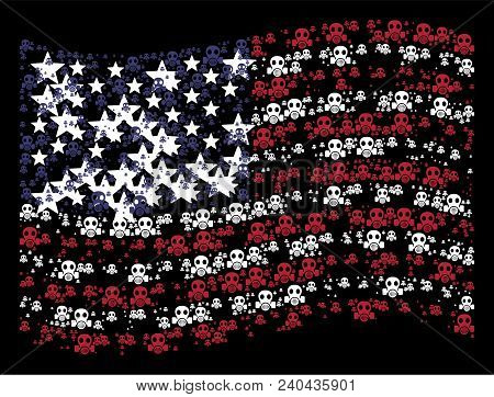 Gas Mask Items Are Composed Into Waving Usa Flag Stylization On A Dark Background. Vector Compositio