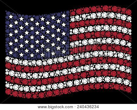 Internet Pictograms Are Combined Into Waving American Flag Stylization On A Dark Background. Vector