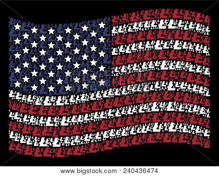 Litecoin Icons Are Arranged Into Waving United States Flag Stylization On A Dark Background. Vector