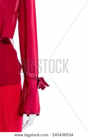 Red Clothing For Women, Cropped Image. Red Long Sleeve Blouse For Ladies, Copy Space. Female Fashion