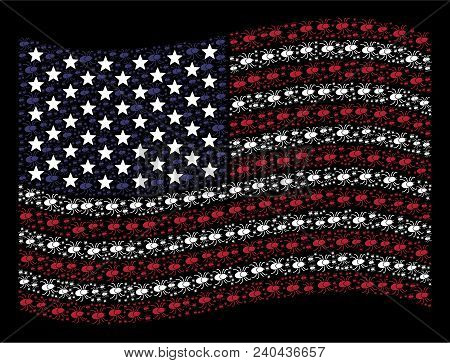 Mite Tick Pictograms Are Combined Into Waving Usa Flag Stylization On A Dark Background. Vector Conc