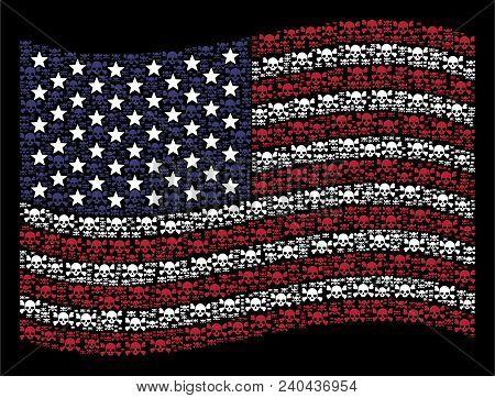 Skull Crossbones Symbols Are Organized Into Waving Usa Flag Stylization On A Dark Background. Vector