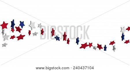 4th Of July. Abstract Background Of Falling Red, Blue, White Stars In The Colors Of The United State