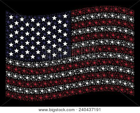 Spider Symbols Are Organized Into Waving United States Flag Stylization On A Dark Background. Vector