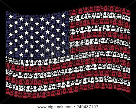 Spy Pictograms Are Composed Into Waving Usa Flag Stylization On A Dark Background. Vector Compositio