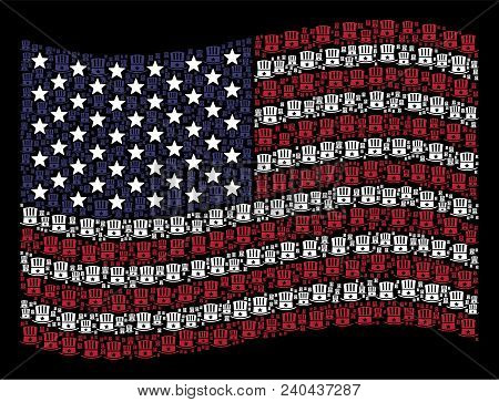 Uncle Sam Hat Pictograms Are Organized Into Waving United States Flag Stylization On A Dark Backgrou