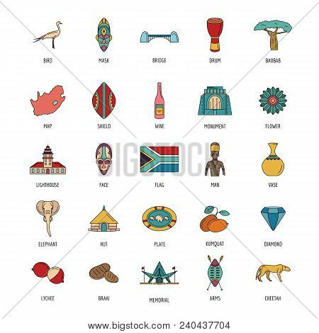 South Africa Icon Set. Cartoon South Africa Set Vector For Web Design Isolated On White Background