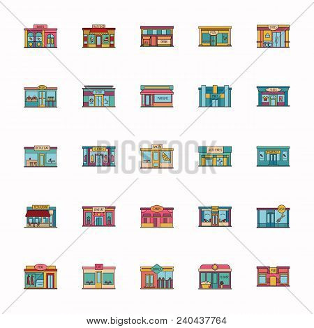 Modern Fast Food Restaurant And Shop Buildings, Store Facades, Boutiques With Pharmacy Cartoon Icons