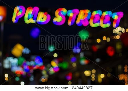 Pub Street In Siem Reap, Cambodia - Blurry Abstract Photo Of Colorful Night Lights. Outdoor Night Li