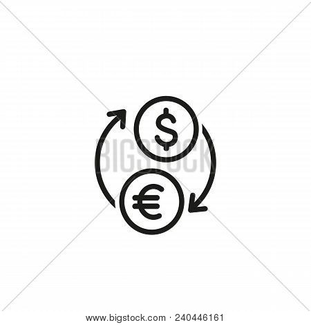 Currency Exchange Line Vector Icon. Dollar, Euro, Conversion. Finance Concept. Can Be Used For Topic