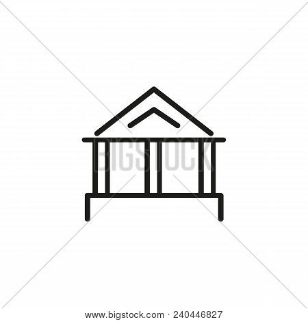 Icon Of School Auditorium. Antique, Building, Academy. Lecture Hall Concept. Can Be Used For Topics