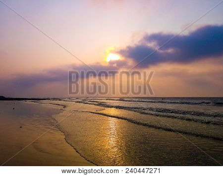 Vivid Sunrise On A Serene Calm Tranquil Deserted Beach At Digha Puri Mandarmani With Space For Text