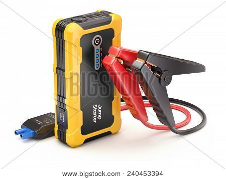Modern Car Emergency Jump Starter Set And Power Bank - 3d Illustration
