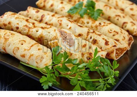 Chicken Cheese Pate Stuffed Crepes, Close-up