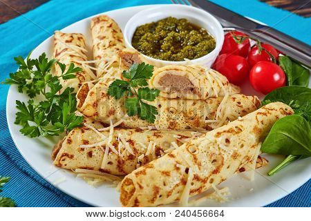 Crepes With Chicken Meat And Sauce Pesto