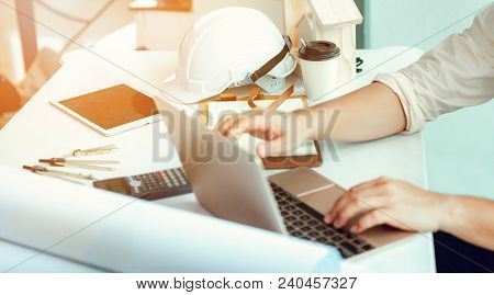Close Up Portrait Of Civil Engineer Taking Note Construction Planning Report., Engineering And Const