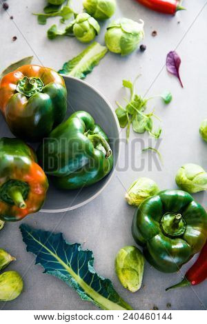 Fresh Vegetables Flatlay Overhead Frame. Food Layout. Vegetables Variety