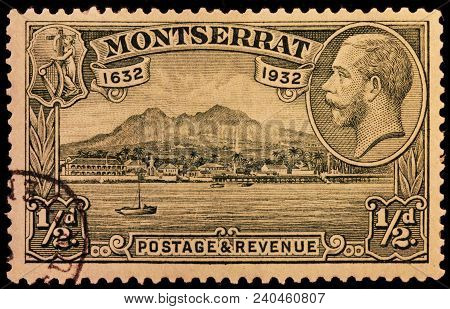 Luga, Russia - January 23, 2016: A Stamp Printed By Montserrat Shows Image Portrait Of King George V