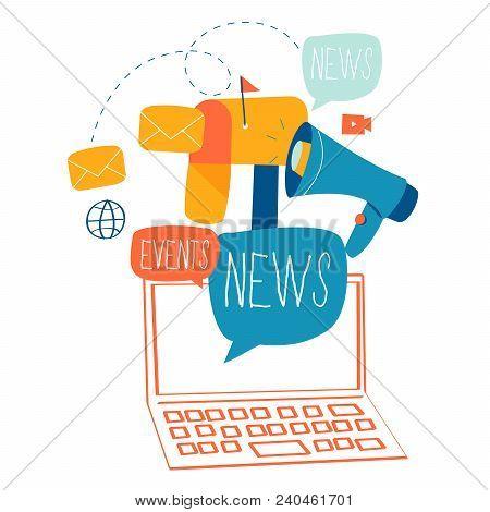 E-mail News, Subscription, Promotion Flat Vector Illustration Design. Online News, News Update, Info