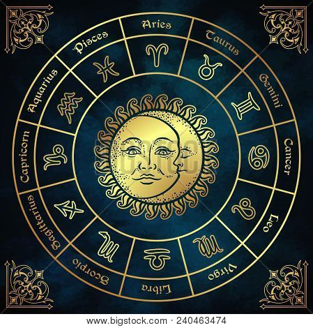 Zodiac Circle With Horoscope Signs, Sun And Moon Hand Drawn Vintage Style Vector Illustration Design
