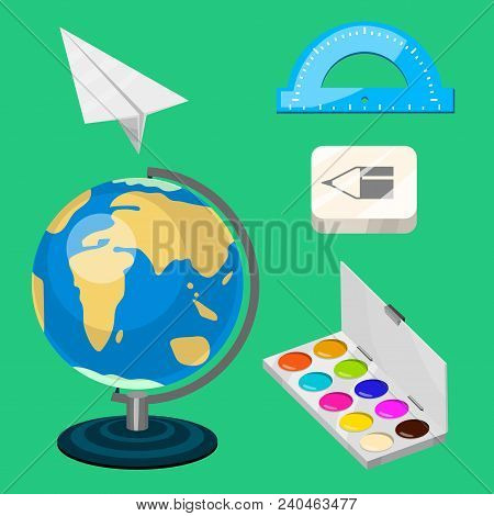 School Supplies Stationery Educational Backpack Equipment Learning Office Accessories Vector Illustr