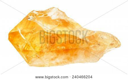 Macro Shooting Of Natural Rock Specimen - Raw Crystal Of Citrine (yellow Quartz) Gemstone Isolated O