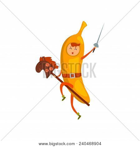 Brave Banana Cartoon Character Riding On Stick Horse With Sword, Man In Fruit Costume Vector Illustr