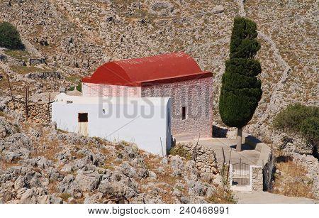 A chapel in the rocky hills near Chorio on the Greek island of Halki.