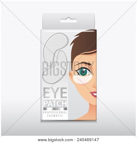 Package of Hydrating Under Eye Gel Patches. Vector illustration of white box with eye gel patches for your design poster