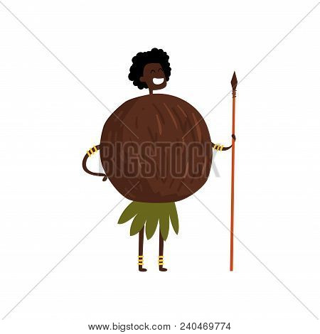Brave Coconut Cartoon Character With Spear, Man In Fruit Costume Vector Illustration Isolated On A W