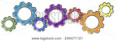 Scribble Gears For Cooperation Symbolism