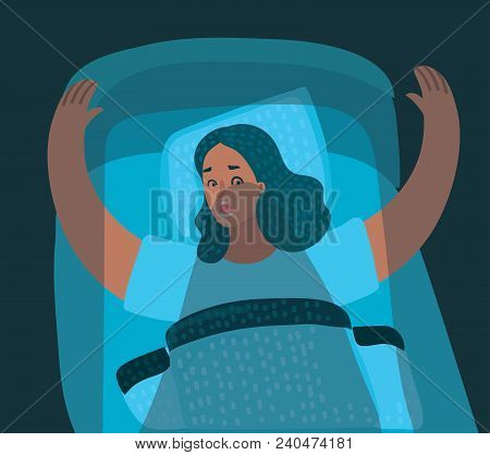 Cartoon Illustration Featuring A Woman Waking Up From A Nightmare In Her Bed In Night.
