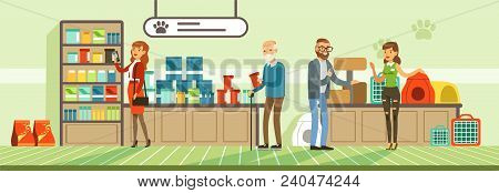 People Shopping For Their Pets At Pet Shop, Visitors Buying Food Products And Medicaments Vector Ill