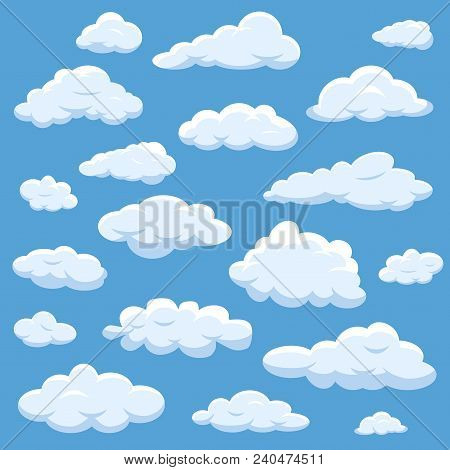Clouds Isolated On Blue Sky Cloudy Bright Vector Cloudscape. Nature Air Weather Fluffy White Cloud I