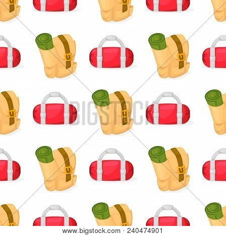 Tourist Backpack Samless Pattern Vector Illustration With Cartoon Flat Backpack And Sport Suitcase.