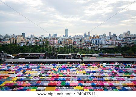 Train Night Market At Ratchada Road, Bangkok, Thailand. Called Talad Rot Fai In Thai