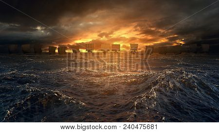 Vikings Ships On The Horizon Of Stormy Ocean. Mysterious Atmosphere Under The Shining Sky. 3d Render