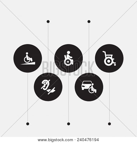 Set Of 5 Accessibility Icons Set. Collection Of Car, Springboard, Wheelchair And Other Elements.