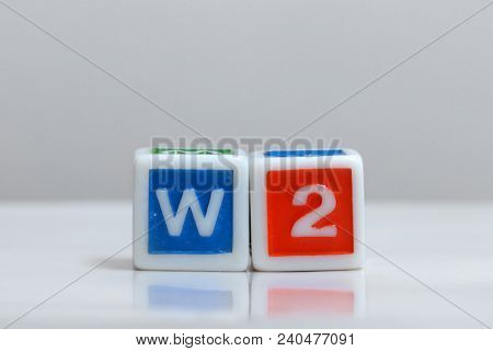 Two blocks with W2 form letters