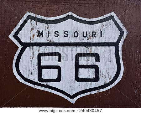 Historic U.s. Old Route 66 Sign In Missouri.