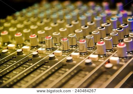 Close Up Of  Digital Sound Audio Mixer And Amplifier Equipment Or Music Mixer Equalizer Console. Sou