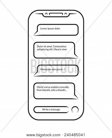 Chatting And Messaging. Vector Outlined Icon Of Smartphone With Opened Messenger App Window Isolated