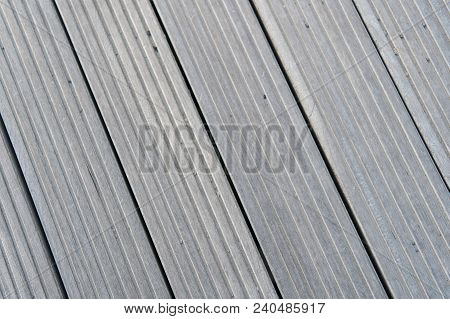 Floor Of Grey Boards In Reykjavik, Iceland. Wood Floor Texture Outdoor. Timber Surface On Wooden Bac