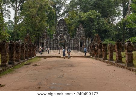 Entrance To Ancient Preah Khan Temple In Angkor, Cambodia